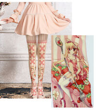 Lolita Anime Girl Pink Lace Bow Striped Tights Regular Japan Kei Kawaii Cosplay