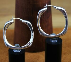 """ELLE """"Signature Ruby"""" Cushion Square Hoop Earrings Sterling Silver 1 9/16"""""""