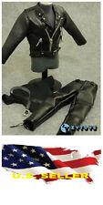 "1/6 T-800 Arnold Black Leather Motorcyle Jacket set Fit 12"" figure hot toys USA"