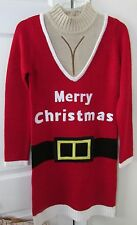 Festified Ladies Ugly Christmas Santa Suit Red Sweater Dress Medium $70 NWT