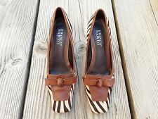 61fa396a5f7 Womens FRANCO SARTO Size 7 1 2 M Loafer Brown Leather Animal Print Heel  Shoes