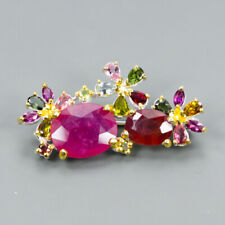 Fine Art16ct+ Natural Ruby 925 Sterling Silver Brooch /NB06007