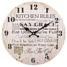 Kitchen Rules Wall Clock Vintage Cream Novelty Quote Large Shabby Chic 34 cm Big