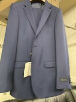 New 40R Men's French Blue Suit 100% Wool Super 150 Made in Italy Retail $1295