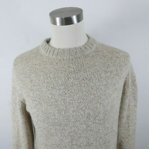 Woolrich Mens Warm Knit Wool Blend LS Crew Neck Blended Beige Sweater Large