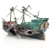 1X(Large Aquarium Decoration Boat Plactic Aquarium Ship Air Split Shipwreck6O3)