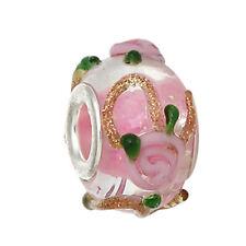Pink Roses Green Glitter Flowers Murano Glass Bead for European Charm Bracelets