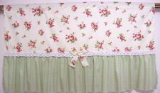 Yellow with Green Checks and Pink flower Cotton Cafe Curtain/ Lace Door Curtain