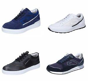 GUARDIANI scarpe uomo sneakers nero bianco blu pelle camoscio tessuto