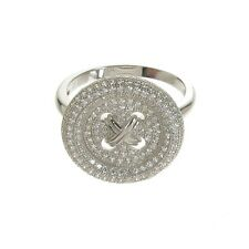 Real silver cubic zirconia cluster button ring size O NEW