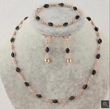 3PCS 14k Gold Filled Black Beads Necklace Bracelet Earrings Jewelry TL0191