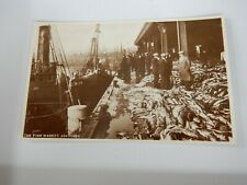 More details for postcard  p10 a40   clear real photo  fish market aberdeen trawlers etc