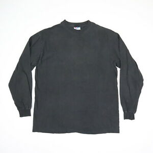 Vtg 90s Hanes Faded Black Blank LS T-Shirt Single Stitch Grunge Goth Punk MEDIUM