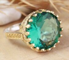 925 Sterling Silver Handmade Gold Plated Aquamarine Ladies Ring Size 6-11
