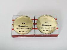Vtg NOS 2 Boxes Dennison Notarial Seals Gummed Gold Star Edge 32-323