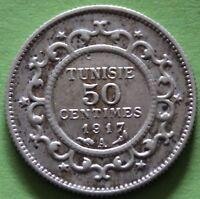 TUNISIE 50 CENTIMES 1917 A ARGENT