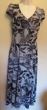 Per Una UK10M EU38M US6M new grey-mix floral stretch jersey cap-sleeved dress