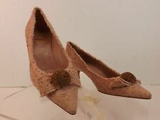 NEW MOSCHINO CHEAPANDCHIC PALE PINK FLORAL PRINT CANVAS BOW KITTEN HEELS 41