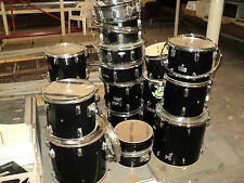 """Lot of 18 Pieces of Miscellaneous Drums From 10"""" Toms to 22"""" Bass Drums"""