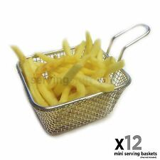 Set of 12 Mini chip serving baskets – mini fryer baskets - serving chips wedges