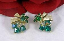 Vintage Green Rhinestone Clip on Earrings CAT RESCUE