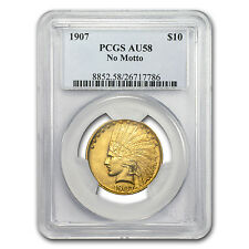 1907 $10 Indian Gold Eagle Coin - No Motto - AU-58 PCGS - SKU #74964