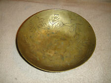 Antique China Marked Brass Bowl-Engraved Dragons & Chinese Markings-Heavy Bowl