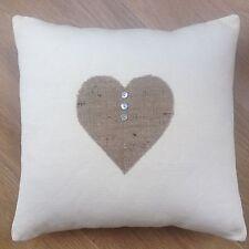 "❤️New Appliqué Hessian Jute Love Heart Cream Natural Scatter Cushion Cover 16"""