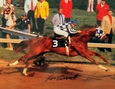 Ron Turcotte autograph Secretariat 8x10 Preakness Stakes at wire triple crown