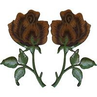 Pair of Brown Rose Patches Iron On Sew On Embroidered Patch Badge Roses Flowers