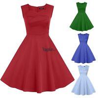 Women lady sleeveless Swing Pinup Housewife 1950's Rockabilly Evening Dress