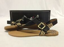 Qupid Archer-137 Women's Thong Sandals, Black, 8 M