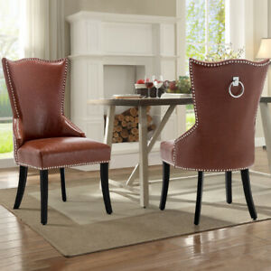 Wing High Back Stud Dining Chair Faux Leather Seat Wood Legs Dinning Room Chairs