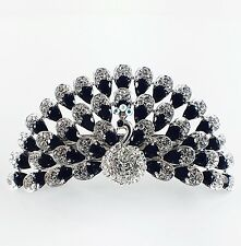 USA BARRETTE use Swarovski Crystal Hair Clip Hairpin Elegant Peacock Black Jewed