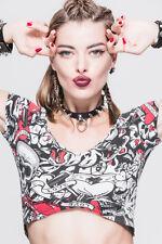 Devil Fashion Punk Rock Short T-Shirts Tops Women Steampunk Slim Tee Skull Sexy
