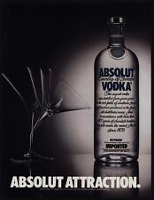 1985 ABSOLUT Attraction - Giant Vodka Bottle - Martini Glass - VINTAGE AD
