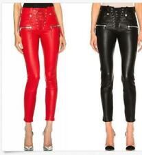 Womens red Faux leather skinny ninth length pencil pants punk trousers OL Pants