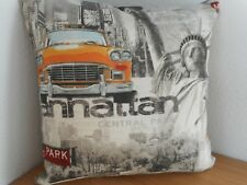 "NEW YORK LANDMARKS (2) CUSHION COVER 15""/38cm Yellow Cab, Street Signs, Liberty"