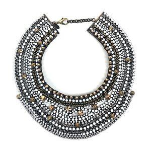 IOSSELLIANI Crystal Studded Collar Necklace Gunmetal Brass Chain Statement Piece