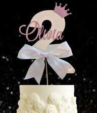 Personalised girls second birthday number two cake topper pink Girl 2 princess
