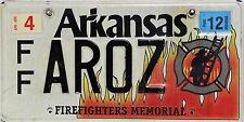 Arkansas  License Plate, Original Kennzeichen USA FF AROZ ORIGINALBILD Feuerwehr