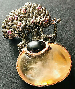 Lemurian Seet Quarz Anhänger Brosche 3 Giraffen Lebensbaum 925 Silber Unikat