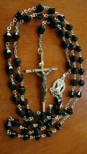 VINTAGE BLACK FACETED GLASS BEADS 30'' ROSARY VG CONDITION