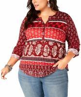 Style & Co Women's Top Red Size 3X Plus Roll Tab Henley Split Neck $49 #213