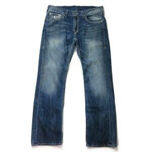 True Religion Straight Jeans Flaps Pockets Big T Super T Mens 34 White Stitch