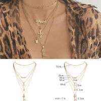 Fashion Multilayer Gold Chain Choker Cross Letter Pendant Necklace Women Jewelry