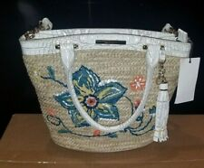 NWT BRAHMIN Small Bowie Satchel Natural Dixon Straw & Leather $325