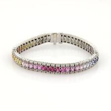 14.40ct Diamond & Multi-Color Sapphires Rainbow 18k WGold Tennis Bracelet
