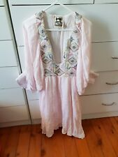 JAASE Maxi Short Pink Dress Long Top Embriodery Size XS C1