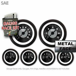 Gauge Face Set SAE Classic Retro Rodder Black IIII & Needles, Chrome Trim Rings